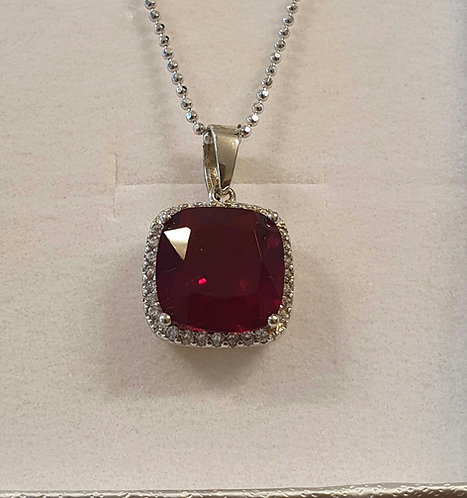 Red Ruby Pendant, Silver 925 necklace ,Ruby gemstone jewelry