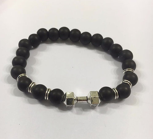 Black beads bracelet , Barbell bracelet, Men jewelry,Barbell char