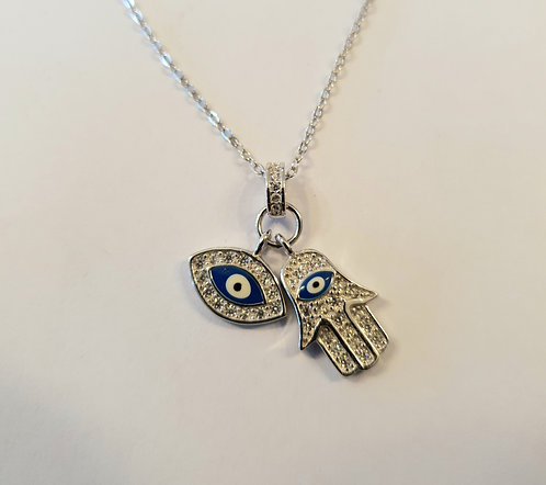 Hamsa and eye pendant, Evil eye necklace, Silver necklace