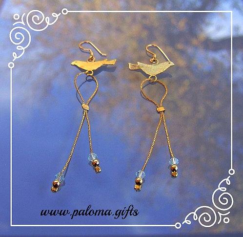 Goldfield earrings , Dangle earrings , Bird earrings