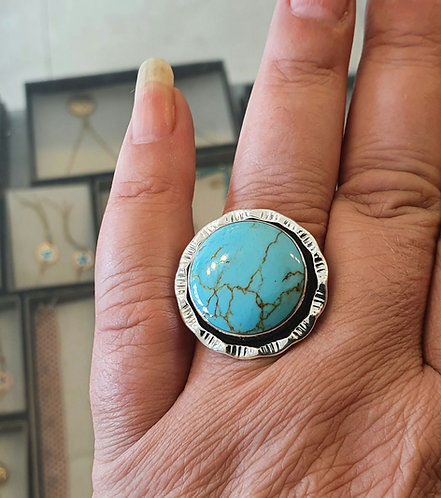 Silver ring, Turquoise ring, Turquoise gemstone ring