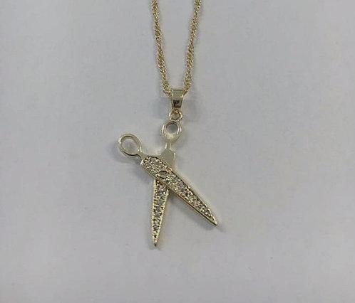 Goldfilld scissors, gift for him ,barber scissors , Gold pendant