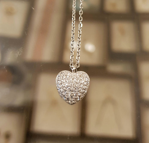 Heart pendant, Silver necklace, Heart jewelry,Valentine's day gift
