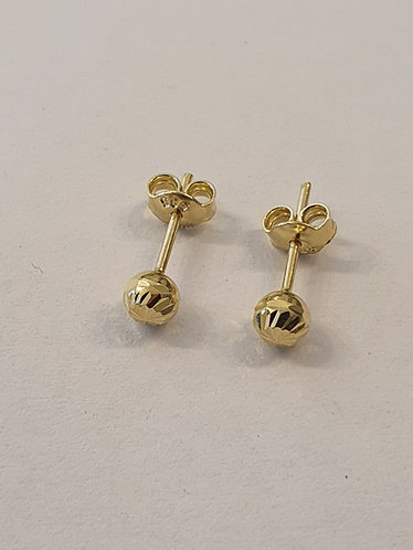 Gold 14k earrings , Gold ball earrings , Round earrings