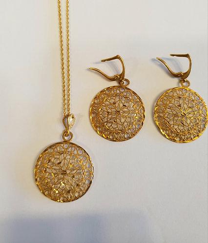 Mesh Round set , Goldfield jewelry, Round mesh jewelry