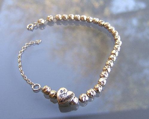 Silver balls Bracelet , sterling silver bracelet , Heart bead charm