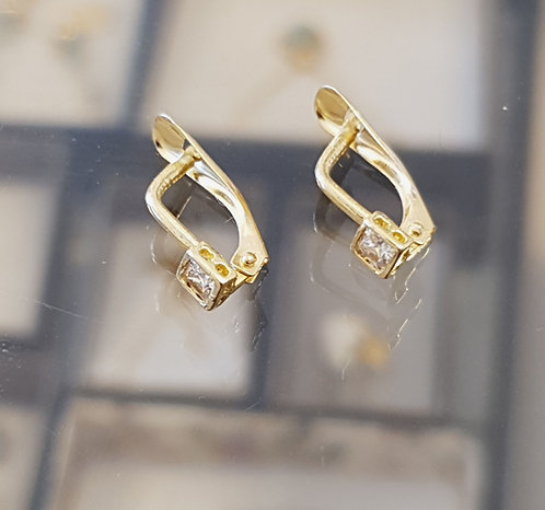 Gold 14k earrings ,Square earrings ,Vintage gold earrings