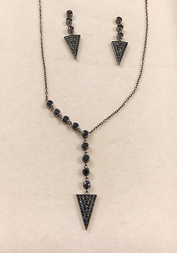 silver earrings and necklace,Silver set,Blackened triangles