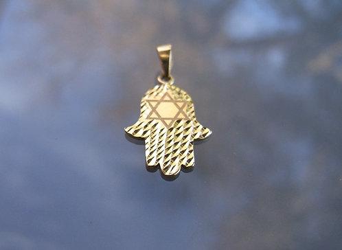 14K gold Pendant , Hamsa with star of david  pendant