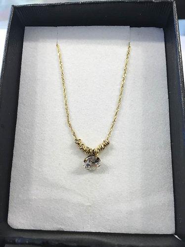 14K gold Pendant , Zircon pendant , Round zircon , Gift f