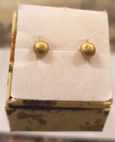 Gold 14k earrings , Gold ball earrings , Round earrings