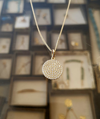 14K gold Pendant , Zircon pendant , Round pendant,Gold necklace