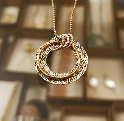 Gold Silver Hoop pendant , Hoop necklace ,Hoop jewelry