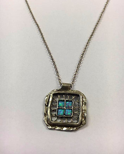 A Square pendant , Sterling silver pendant , Opal jewelry