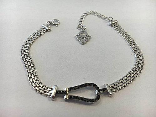 A horseshoe bracelet and black zircons, 925 silver bracelet