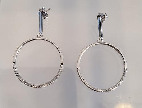 Silver round earrings , Zircons  earrings , Hoop crystal , Silver jewelr