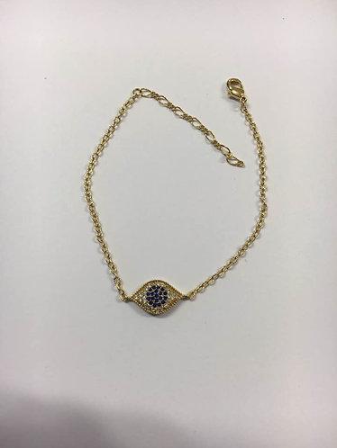 Blue eye bracelet , Gold-filled bracelet ,Crystals bracelet , Goldfilled