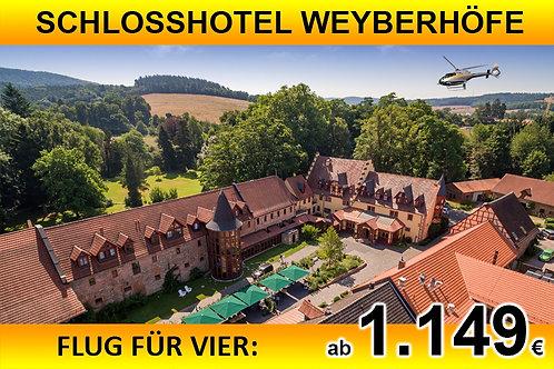 Flug zum Schlosshotel Weyberhöfe für bis zu VIER Passagiere
