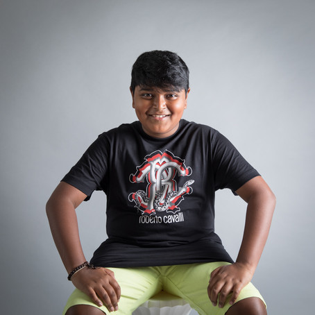 preteen boy studio portrait