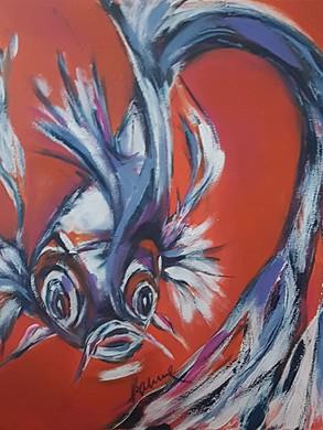 Koi in orange Acryl auf Leinwand, 60x60 cm Preis: 350 Euro