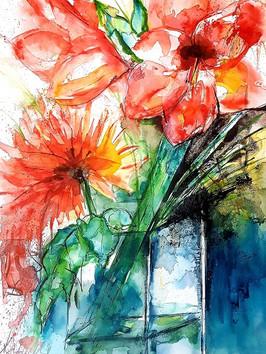 Amaryllis und Chrysantheme