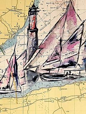 Seekarte (Eckernförder Bucht) mit Regatta