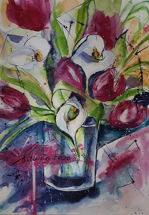 Tulpen mit Callas