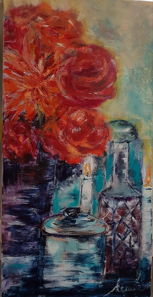 Blumen und Kerzen