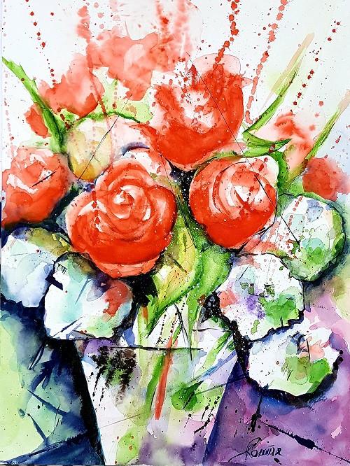 Rosen mit Schneeball