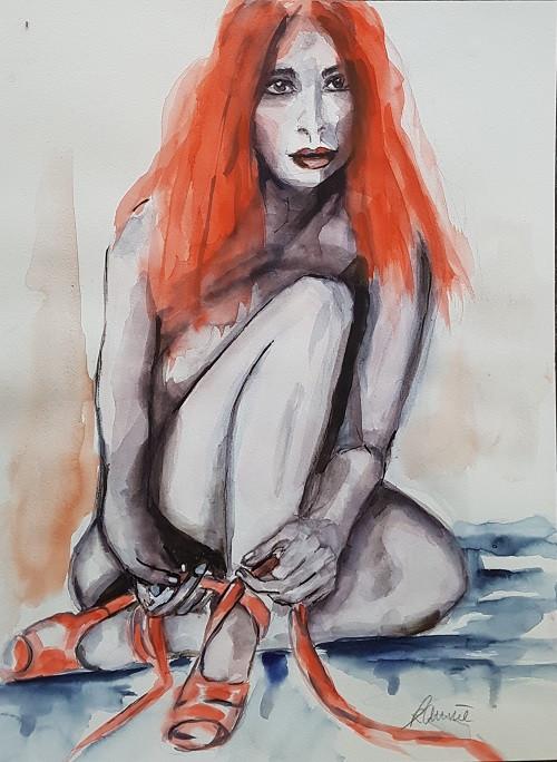 """Serie """"Red Hair"""" - Akt mit Ballettschuhen"""
