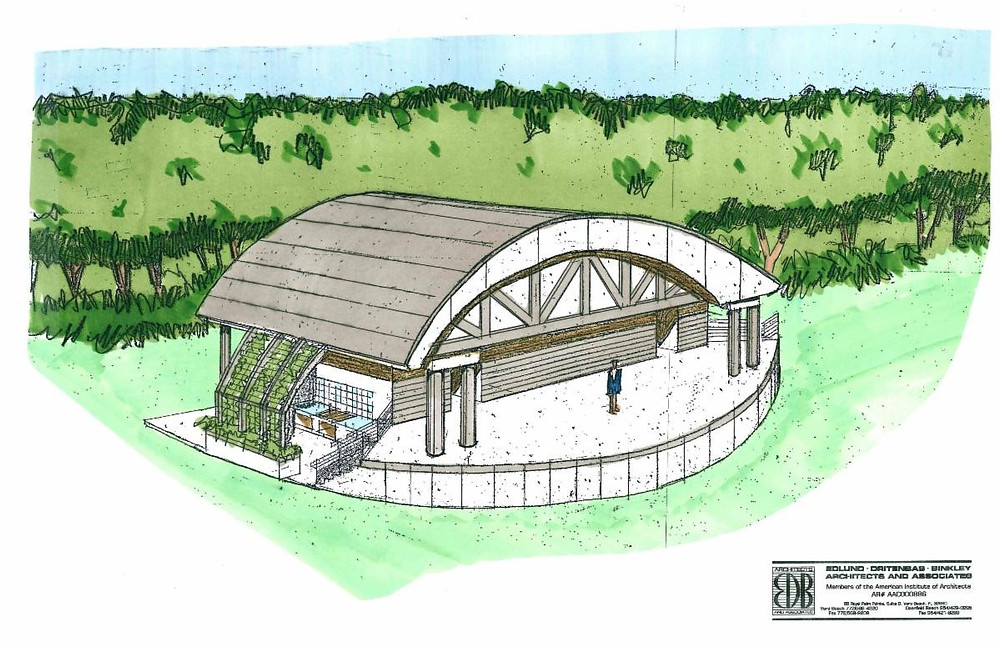 architects drawing of outdoor pavilion