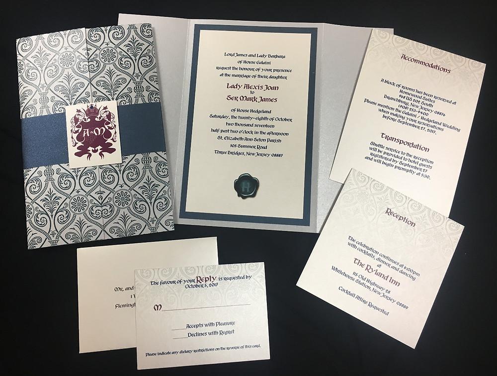 "Custom ""Game of Thrones"" themed invitation suite."