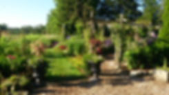 The beautiful Clematis Arbor at Meadow View Gardens, Roseneath, Ontario
