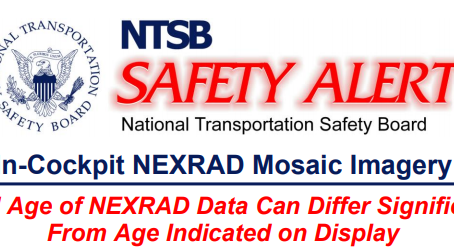 """NTSB safety alert on age of """"in cockpit"""" weather displays"""