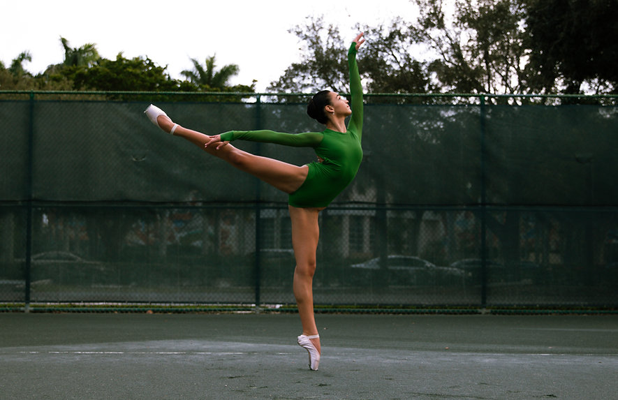 Dancer posing outdoors in a professional photoshoot