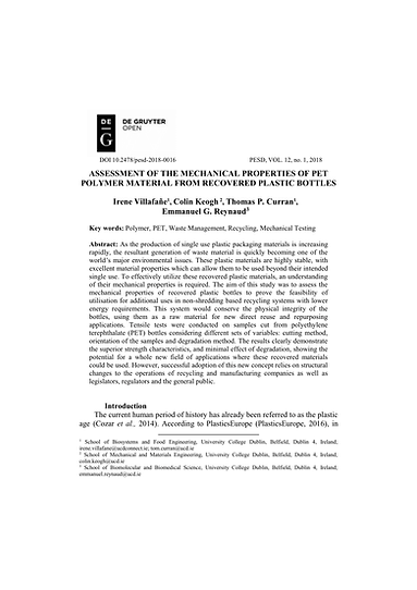 Assessment of the Mechanical Properties