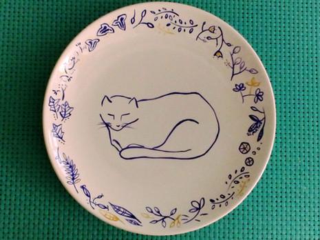 Prato de porcelana Gato