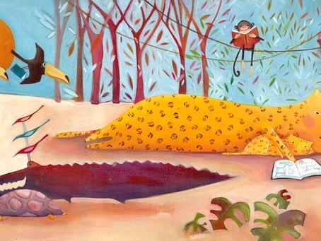 Ilustração para biblioteca infantil  do Sesc Santos