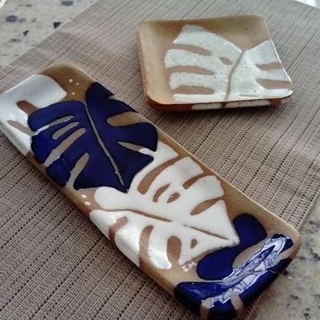 Bandejas de cerâmica Costela de Adão