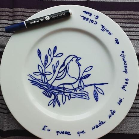 Prato de porcelana Passarinho