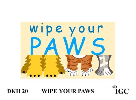 Wipe Your Paws Doorknob Hanger