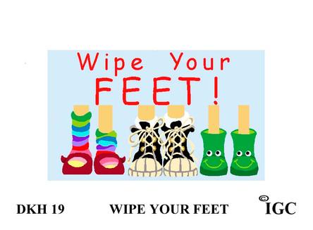 Wipe Your Feet Kids Doorknob Hanger