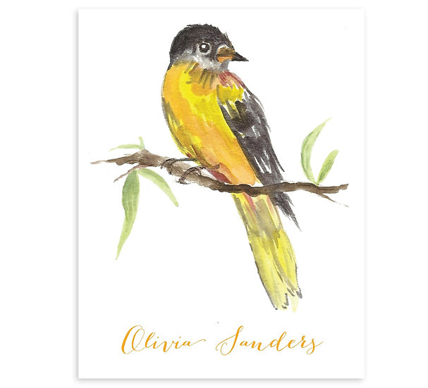 Set Of 8 ORIOLE Monogrammed Watercolor Notecards
