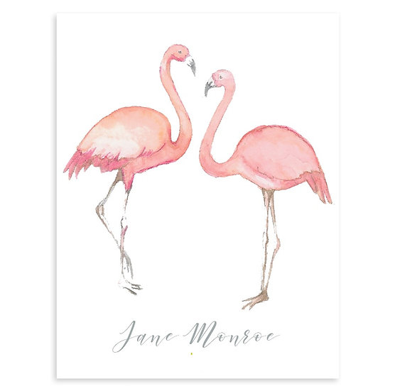 TWIN FLAMINGO Personalized Watercolor Notecards (8)
