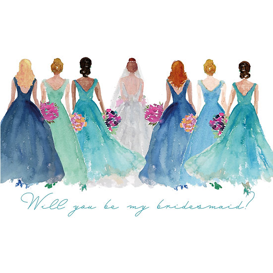 """""""Will you be my bridesmaid?"""" Personalized Watercolor Notecards (6)"""