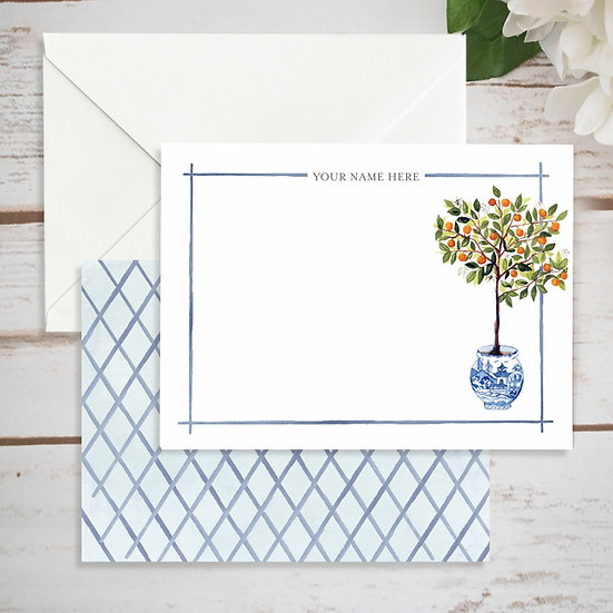 Chinoiserie Blue Ginger Jar Personalized Notecards