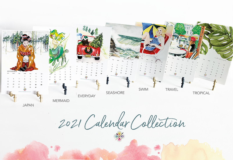 2021 Watercolor Design Studio Calendar Sets with Brass Easel