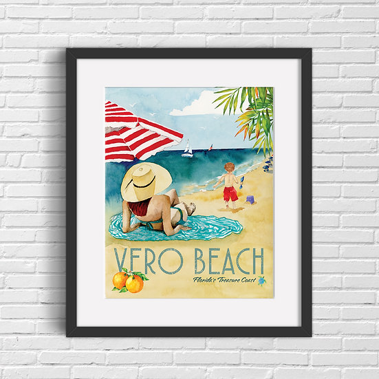 Retro Vero Beach Watercolor Print