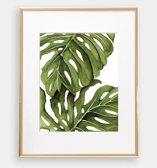 Botanical Monstera Palm Leaves Art Print