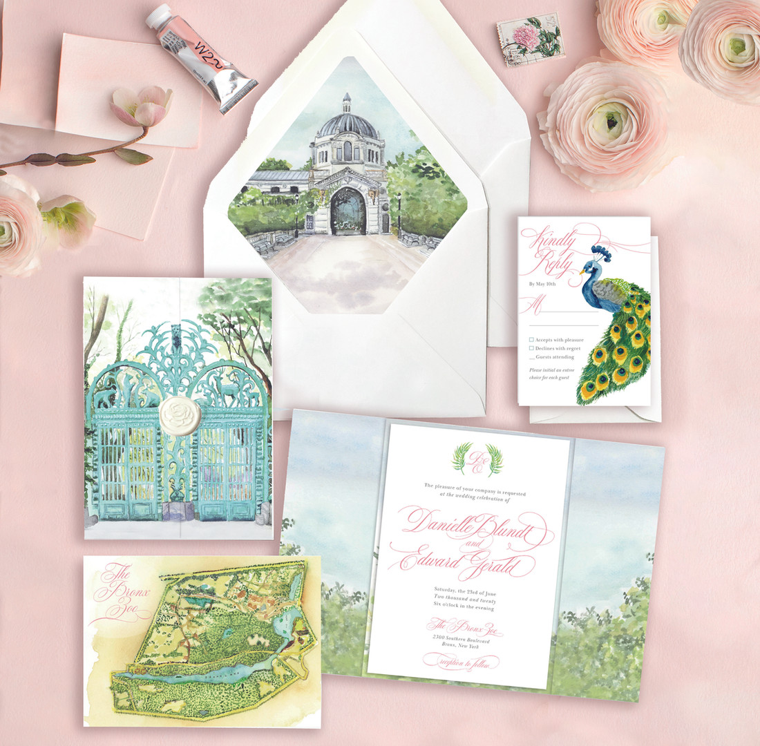Bronx Zoo wedding invitation